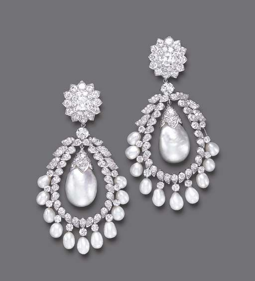 A PAIR OF DIAMOND AND CULTURED PEARL EAR PENDANTS, BY DAVID WEBB