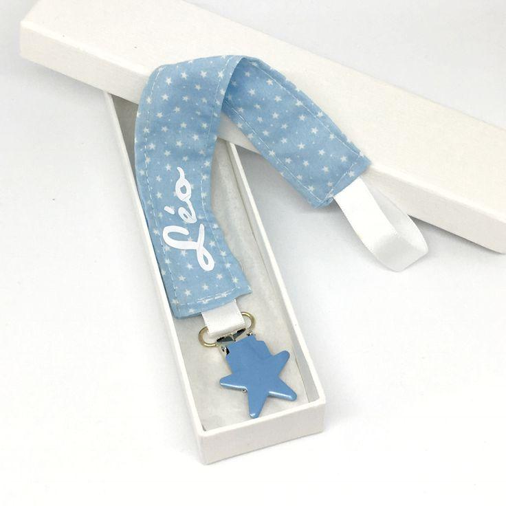 Attache tétine personnalisable étoile bleu ciel