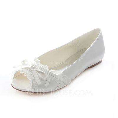 [€ 51.36] Frauen Satin Flascher Absatz Flache Schuhe Peep Toe mit Bowknot (047087105)