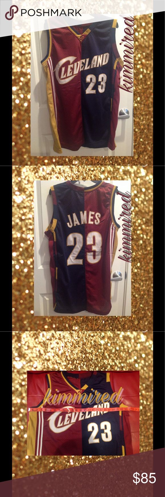 """Lebron James Cleveland Cavs Home/Away Jersey~ L\48 Mens Lebron James #23 Cleveland Cavaliers Home/Away Jersey ~ L (48)    2️⃣3️⃣  RARE‼️‼️‼️    My son ripped the tags off but per the measurement (see pic), it measures a 48"""" chest which is a Large per the size chart (see pic).   2️⃣3️⃣  excellent used condition     colorblocked / 1/2 home, 1/2 away  2️⃣3️⃣  stitched lettering  Item is cross-posted so act fast before IT IS GONE!    No smoking  No pets Shirts"""