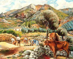 Landschaft mit Bauernhaus Künstlers in Fique - (Rafael Zabaleta Fuentes)