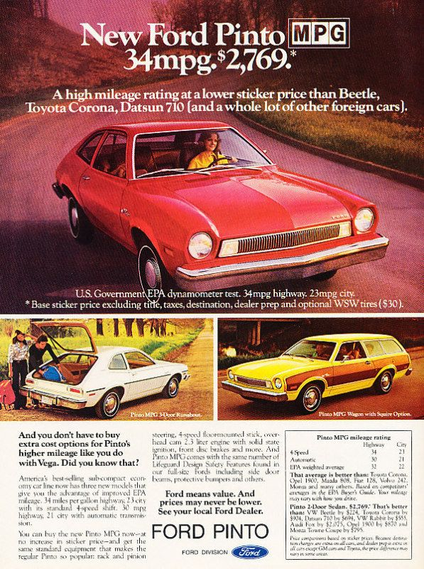 "My family had a blue Ford Pinto station wagon sans the ""Squire package"" (i.e. faux wood.)  We bought it in the mid '70s in GA and then took it to Germany with us."