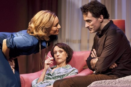 Kristin Scott Thomas as Anna, Lia Williams as Kate and Rufus Sewell in 'Old Times' at the Harold Pinter theatre (Photo: Simon Annand)