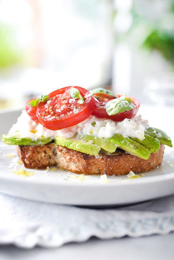 Caprese Avocado Toast With Cottage Cheese