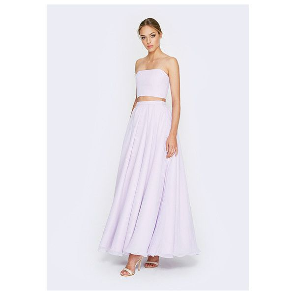 Lilac Light Purple Sweet Rebel Dress ($249) ❤ liked on Polyvore featuring dresses, lilac, two piecelongstraplessmaxi, two piece formal dresses, homecoming dresses, formal dresses, 2 piece formal dresses and lavender prom dresses