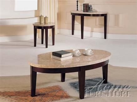 Britney White Espresso Marble Stone Wood Coffee Table Set