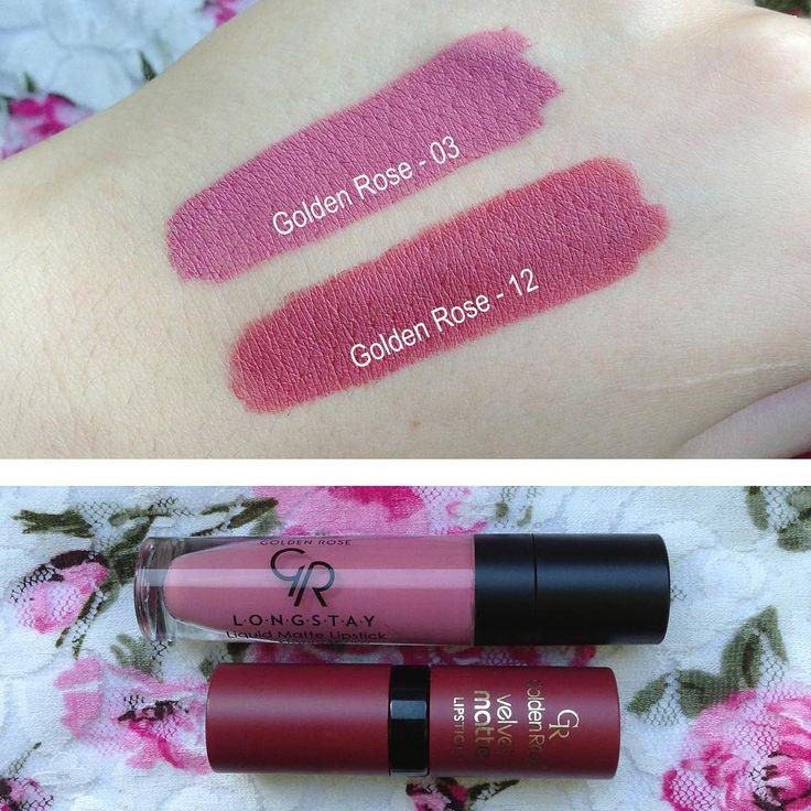 @marusionna • Instagram Golden Rose Longstay liquid matte lipstick in 03 & Golden Rose Velvet matte lipstick in 12