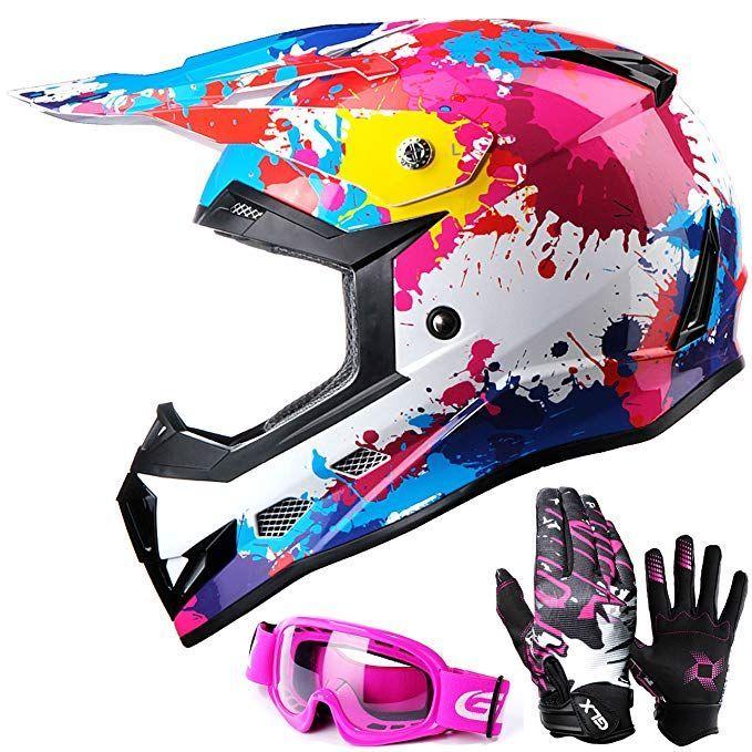 Glx Dot Youth Kids Motocross Atv Dirt Bike Helmet Off Road Graffiti Pink Goggles Gloves L Review Dirt Bike Helmets Dirt Bike Gear Dirt Bike Girl