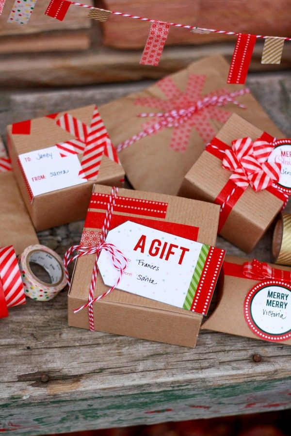 Washi Tape Gift Wrap Ideas   Printable Gift Tags:
