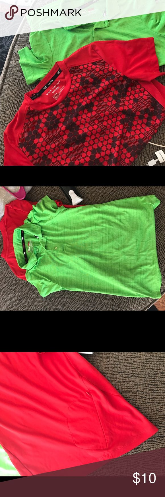 2 boys shirts Excellent condition.  Size 10/12. The lime green shirt is Fila and the red one is tek gear Shirts & Tops Tees - Short Sleeve