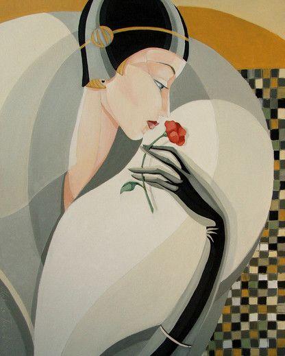 Art Déco Woman - Obraz Floris - Artysta Urszula Tekieli                                                                                                                                                                                 More