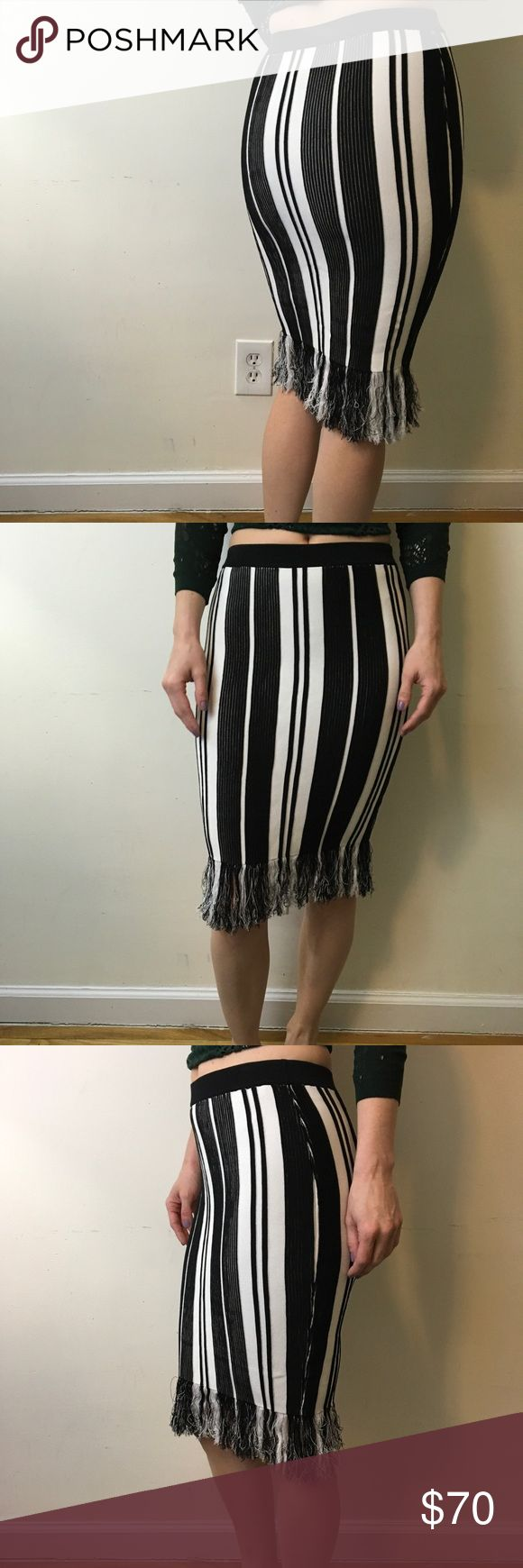 & Other Stories Black & White Striped Tassel Skirt & Other Stories Skirt in black and white with rope tassel as the end - stretchy and is very form fitting! Sexy to the max!! & Other Stories  Skirts