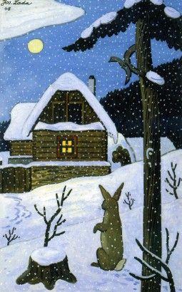 Josef Lada Zajíc (České vánoce) 1948 malba kvaš