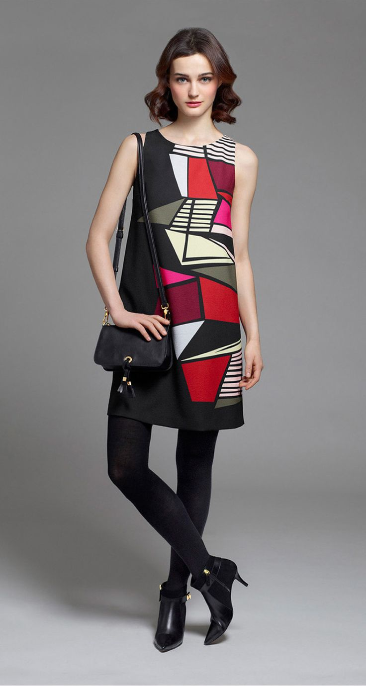 A-line dress in stained glass printed crepe - Trapeze dresses - Dresses - Collection - Fall-Winter 2015-16