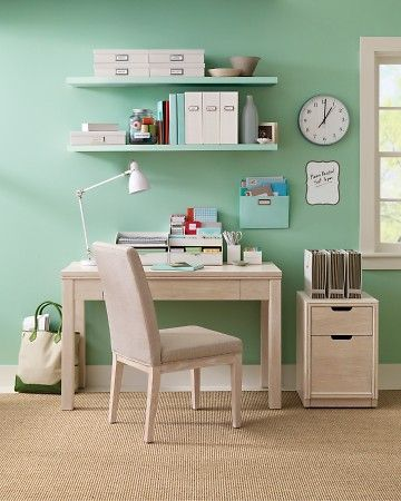 Martha Stewart Home Organizing Tips: Wall Colors, Floating Shelves, Crafts Rooms, Martha Stewart Home, Offices Spaces, Offices Organizations, Home Offices, Desks Accessories, Offices Supplies