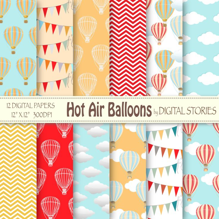 "Hot Air Balloons Digital Paper : ""HOT AIR BALLOONS"" for scrapbooking, invites…"