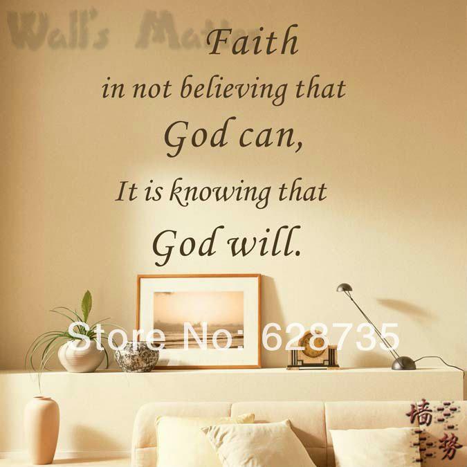 Вера зная , что бог будет виниловые обои цитатой наклейки, Вера .. бог .. цитата на стены декор искусства росписи q0002