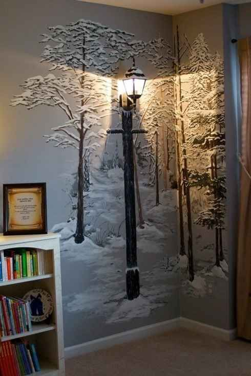 2. Or just paint a wintry forest mural on the wall and attach an old-fashioned lamp.-21 DIY Ways To Make Your Child's Bedroom Magical-For the true artist parents. Instill a love of cold weather early :D