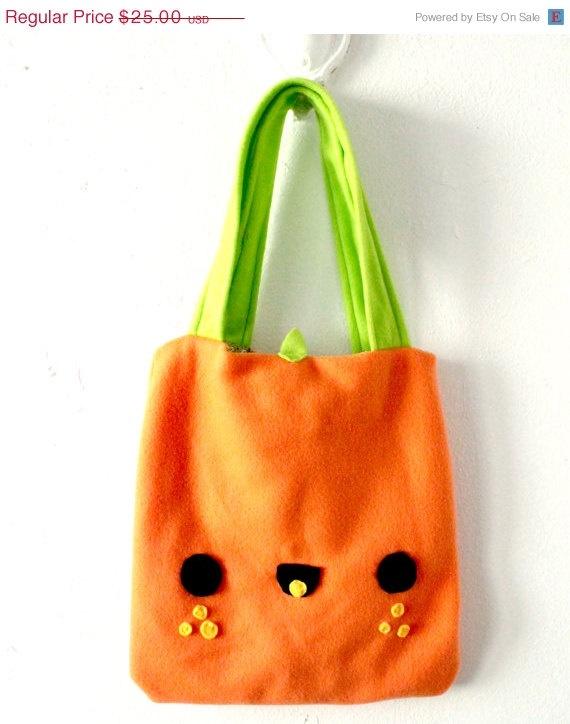 Square Orange Tote Bag   Cute  Kawaii Schoolbag  by HappyCosmos,