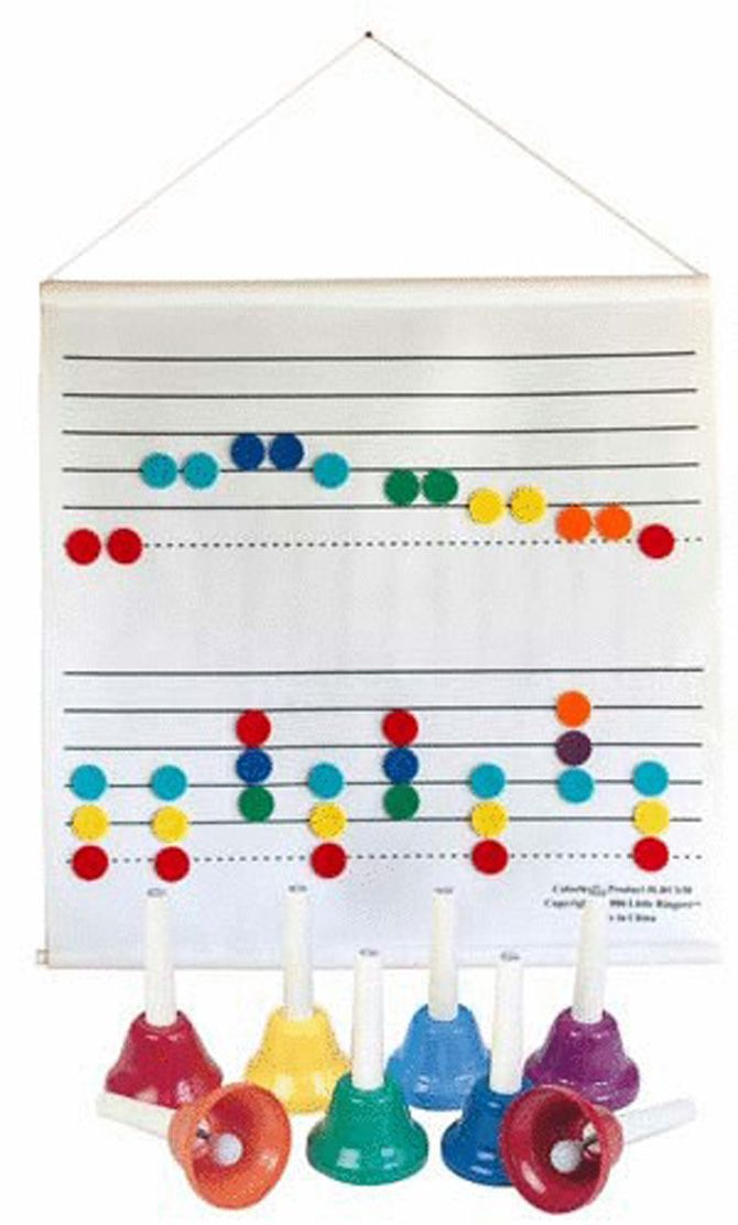 """COLORSTAFF & 8-NOTE HANDBELLS SET - Introduce the music staff and play melodies or chords on hand bells using this hanging 28"""" x 28"""" fabric staff and 8-note bells.96 felt circles with Velcro fasteners are easily placed and removed from the staff. Includes 12 of each note in the C major scale with colors coordinated to Hand bells. Add a second Color Staff for longer songs. Ages 3-up."""