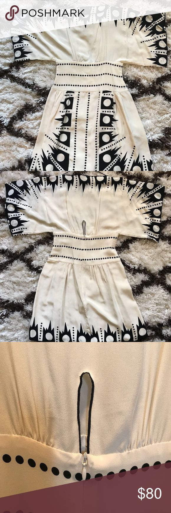 Anna Sui Geoprint Mini • authentic Anna Sui kimono sleeve mini • cream & Black geo print • keyhole zipper back • cummerbund waist • lined skirt • very slight pulling of fabric at busy line - please see pic • 100% silk ~ dry clean only  - take me to eden - Anna Sui Dresses Mini