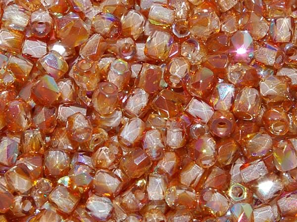 TRUE2™ 2mm Faceted Fire Polished Rounds Crystal Rainbow Orange from Nosek's Just Gems