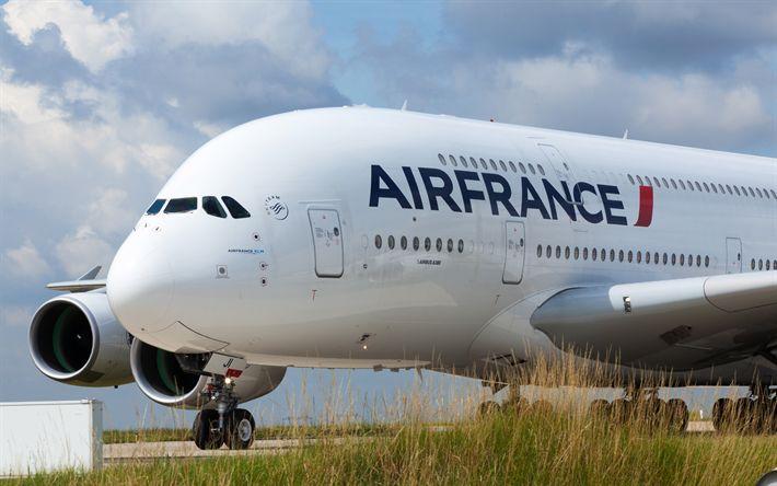 Descargar fondos de pantalla El Airbus A380, 4k, avión de pasajeros, carga aérea, Air France, moderno avilainers