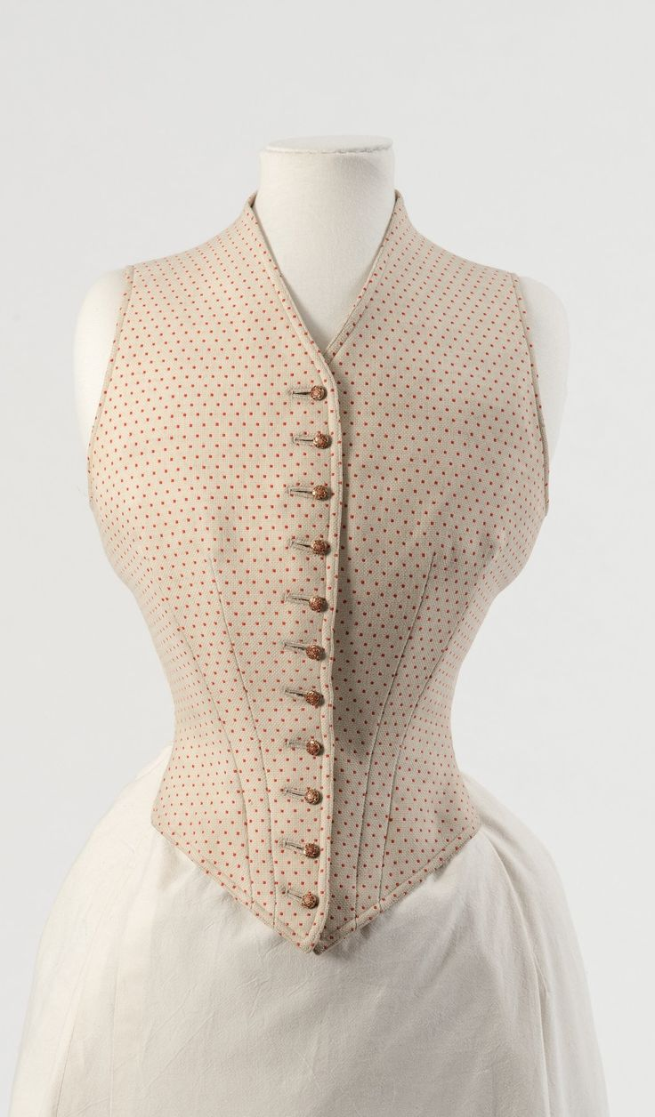 Cream and red spotted wool waistcoat, by J. Busvine & Co, 1890s. Belonged to Alexandra, Princess of Wales. Collection of Fashion Museum Bath.