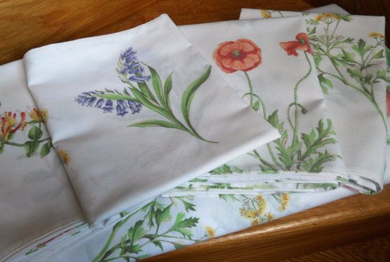 Double Duvet Cover 4 Pillowcases Wild Flower by IngliVintage