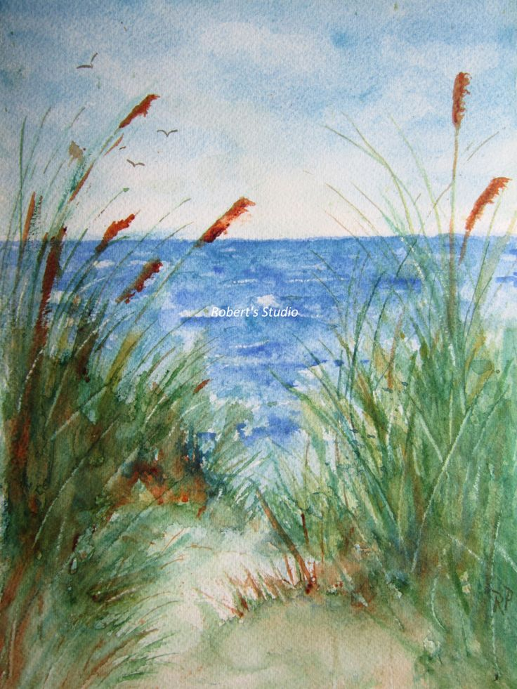 The Beach, Print Of Original Watercolor seascape painting, watercolor art, watercolor print, beach art, beach painting, beach watercolor