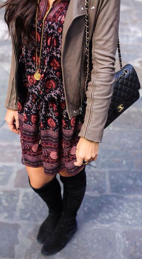 #fall #outfits / pattern print dress + leather jacket