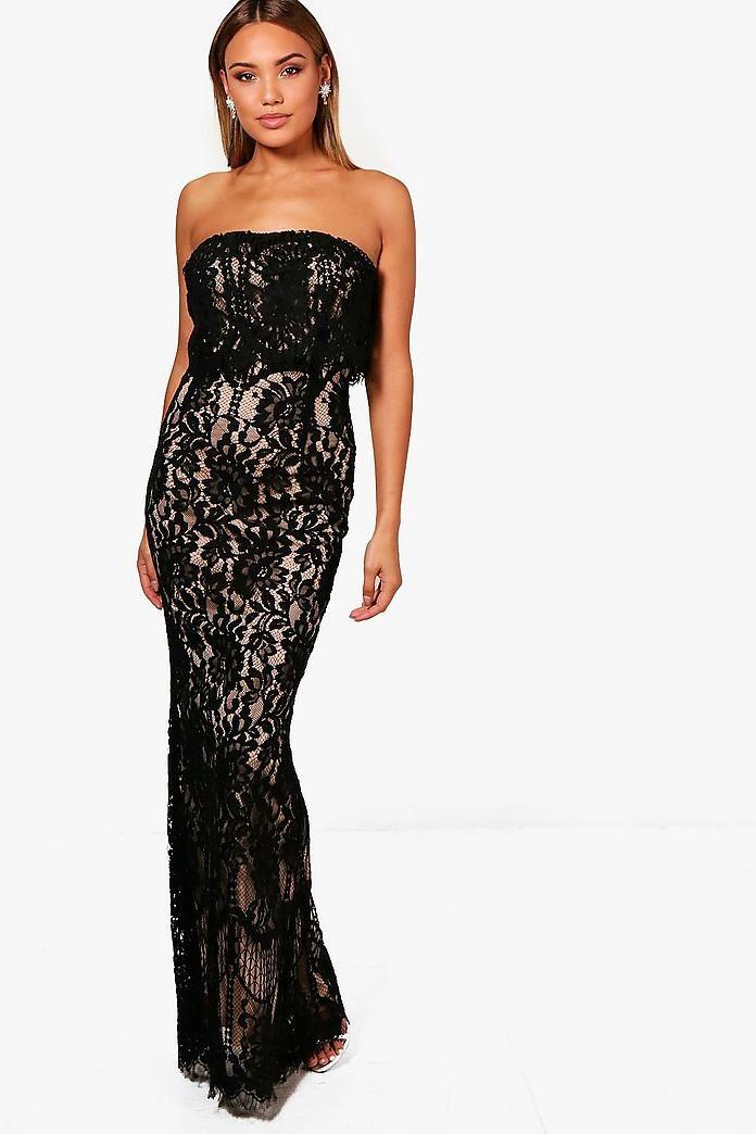 03115ed61c1115 Boutique Val Scallop Lace Bandeau Maxi Dress