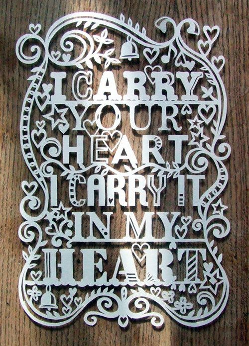 Template I Carry Your Heart Papercut by julene on Etsy