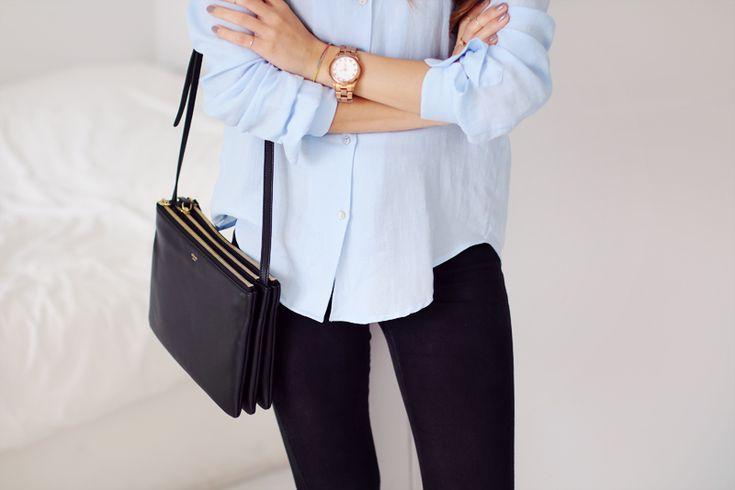 Classic blue shirt, skinny jeans and Célien Trio bag - teetharejade.com