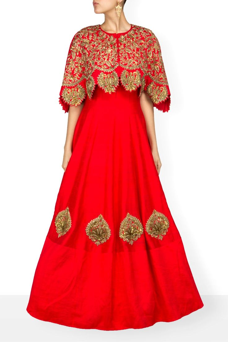 Gowns, Red Gown with Cape Jacket