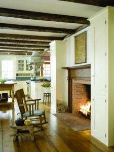 wood beams, wide plank floors, great room.