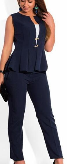 Women Plus Size Suits, Fashion Sleeveless Trouser Suit Size 12-24, Navy, Orange, Blue, Yellow
