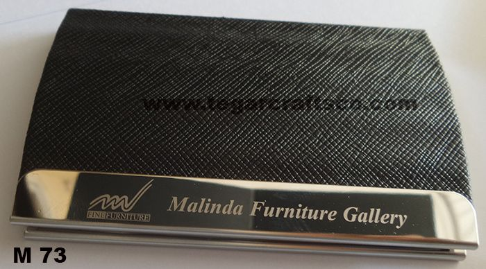 Business Card Holder M73 type with a rough texture like scratches presents a raw but elegant. The right choice as a souvenir for a product launch, event announcement cooperation. Shown above, business card holder ordered by Malinda Furniture Gallery, Jakarta, Indonesia. Which is one retail company's largest furniture and interior design. Currently have a warehouse located in Balaraja and has opened a showroom that sits in its five in Jakarta.