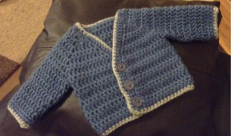 Baby Boy crochet cardigan in denim blue & grey