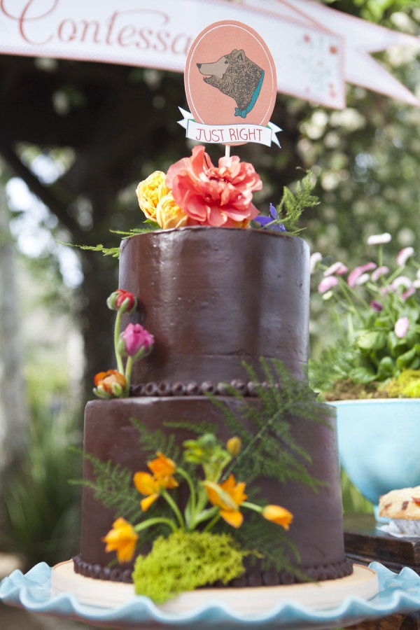 a cake fashioned after Goldilocks and the Three Bears by www.elizabethande...  Photography by llanesweddings.com, Wedding Design and Planning by amorologyweddings..., Floral Design by twiggbotanicals.com: Idea, Chocolate, Floral Design, Amorologyweddings Com Floral, Wedding Cakes, Wedding Design, Photography, Llanesweddings Com