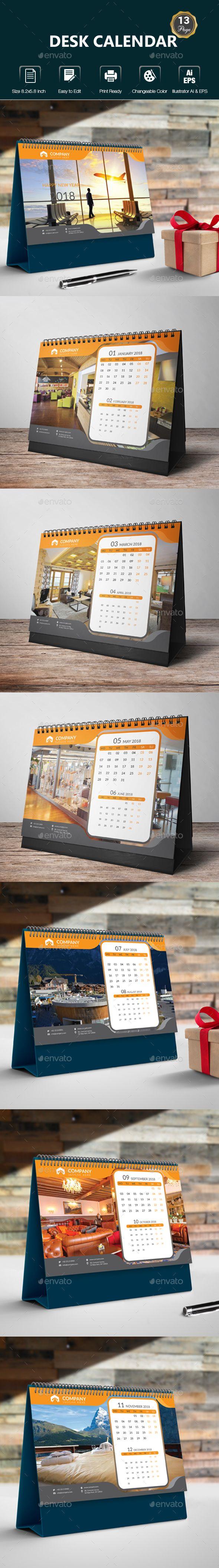 Desk Calendar Template Vector EPS, AI Illustrator