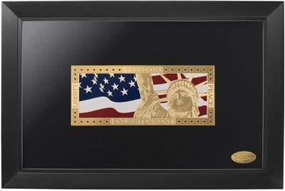 Beautiful gold wall art depicting #Liberty against the background of our #americanflag  #September11 #standstrong #goldenmoments