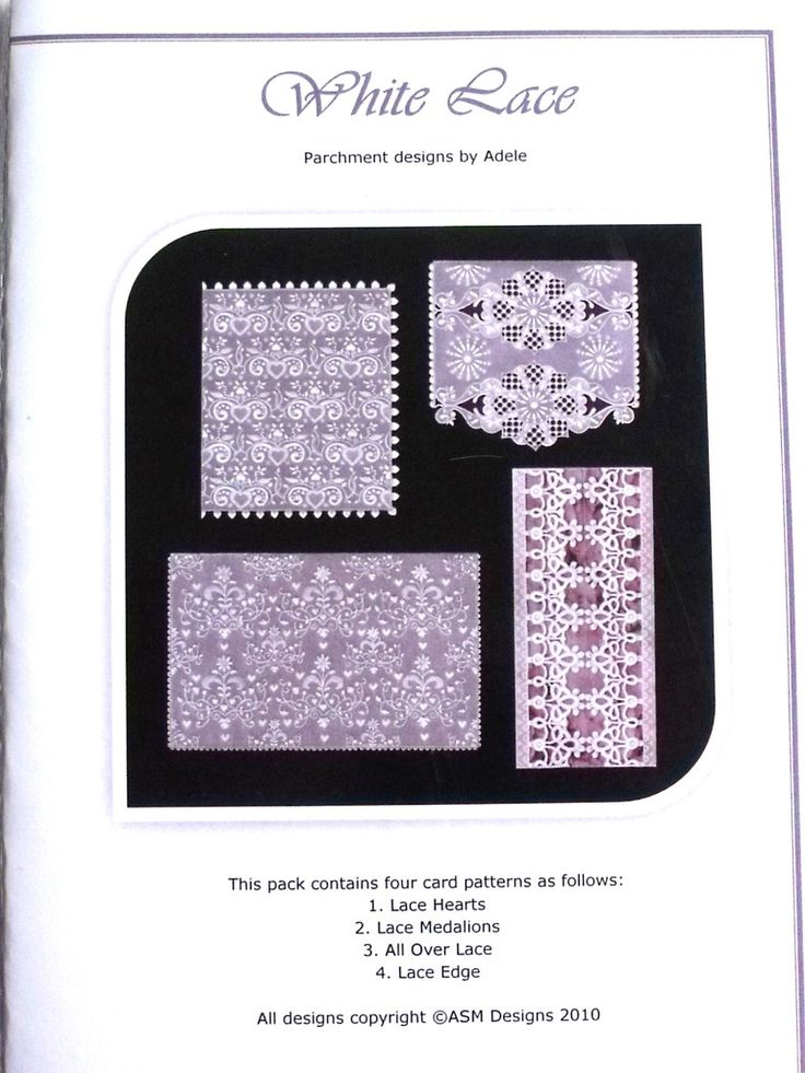 WHITE LACE BY ADELE  Four lovely white lace designs. The patterns come with full colour illustrations, full size patterns and clear working instructions. All patterns in Adele's pattern packs are printed on high photo quality paper to ensure ease of use. Clear, concise instructions ensure that even new-comers to this fascinating craft can follow them with ease.