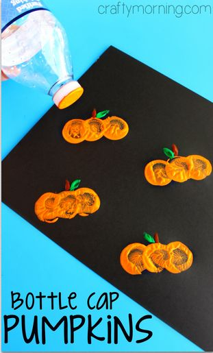 Water Bottle Cap Pumpkin Stamping Craft Halloween For Kids