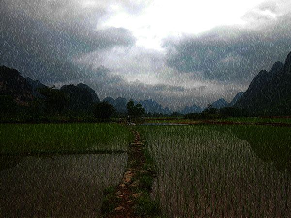 Here is a tutorial on adding rain to a photo with GIMP.