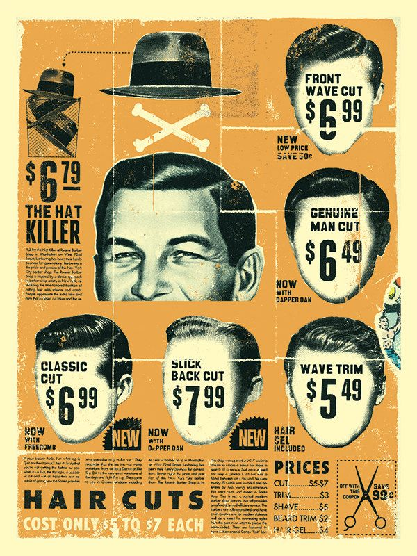 Vintage Mens Barber Shop Print | Curt Merlo    Check those prices, although we have the same now in Spain ;-)