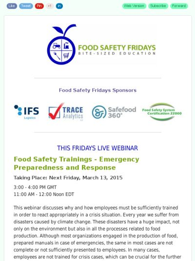 FRIDAYS LIVE WEBINAR: Food Safety Trainings - Emergency Preparedness and Response https://madmimi.com/s/de03f5