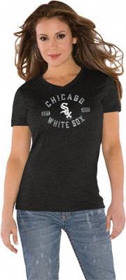 Chicago White Sox Women's Black Tri Blend V-Neck T-Shirt - Touch By Alyssa Milano
