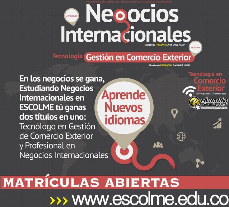 Aprende nuevos idiomas, estudiando Negocios internacionales en ESCOLME.  Cliquéame para inscribirte http://bit.ly/1SrJ8MK o ingresa a www.escolme.edu.co Matrículas abiertas.