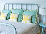 I have this bed frame, mine is antique, and my walls will be this color...!